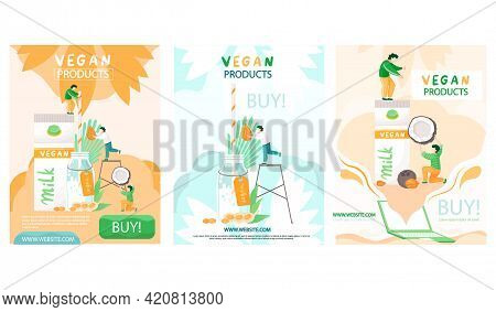 Set Of Illustrations About People Making Plant Based Vegan Milk. Vegan Products Shopping Website Con
