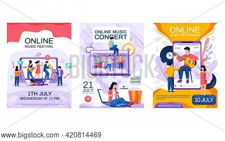 Set Of Illustrations About Musicians Give Concerts. Video With Creative People Performing Songs And
