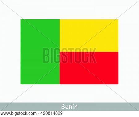 National Flag Of Benin. Beninese Country Flag. Republic Of Benin Detailed Banner. Eps Vector Illustr