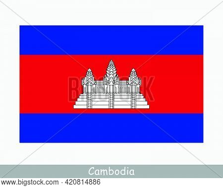 National Flag Of Cambodia. Cambodian Country Flag. Kingdom Of Cambodia Detailed Banner. Eps Vector I