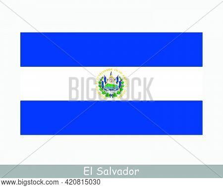 National Flag Of El Salvador. Salvadoran Country Flag. Republic Of El Salvador Detailed Banner. Eps