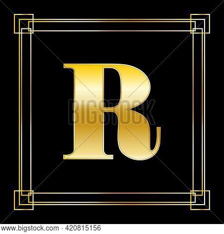 Letter R Logo Design With Square Ornament, Luxury Golden Design, Vector Illustration