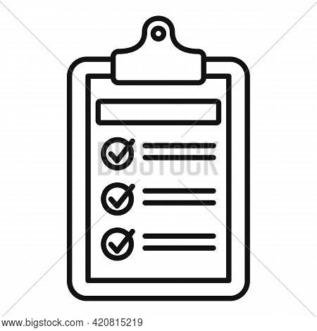 Syllabus Daily Clipboard Icon. Outline Syllabus Daily Clipboard Vector Icon For Web Design Isolated
