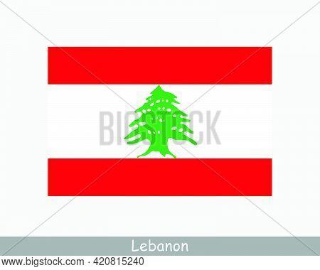National Flag Of Lebanon. Lebanese Country Flag. Lebanese Republic Detailed Banner. Eps Vector Illus