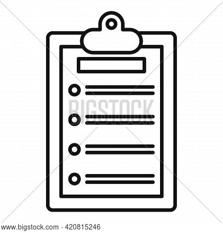 Syllabus Clipboard Icon. Outline Syllabus Clipboard Vector Icon For Web Design Isolated On White Bac