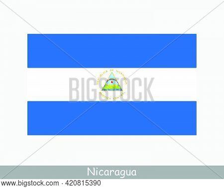National Flag Of Nicaragua. Nicaraguan Country Flag. Republic Of Nicaragua Detailed Banner. Eps Vect