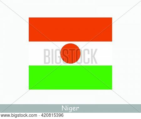 National Flag Of Niger. Nigerien Country Flag. Republic Of The Niger Detailed Banner. Eps Vector Ill