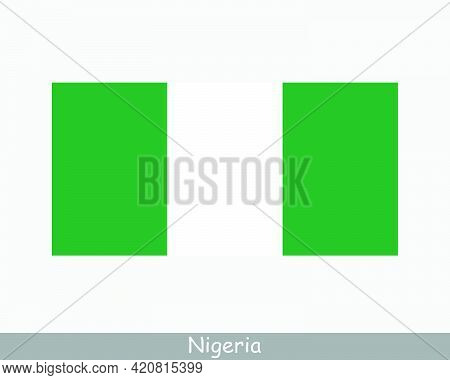 National Flag Of Nigeria. Nigerian Country Flag. Federal Republic Of Nigeria Detailed Banner. Eps Ve