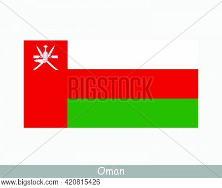 National Flag Of Oman. Omani Country Flag. Sultanate Of Oman Detailed Banner. Eps Vector Illustratio