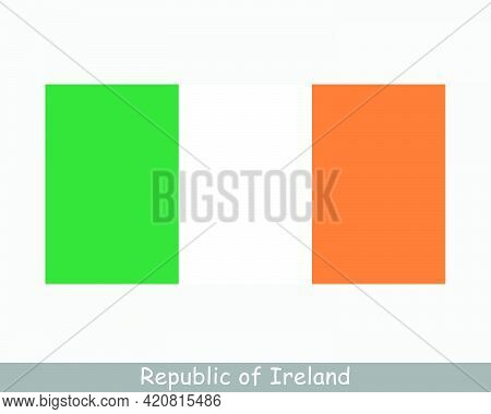 National Ireland. Irish Country Flag. Republic Of Ireland Detailed Banner. Eps Vector Illustration C