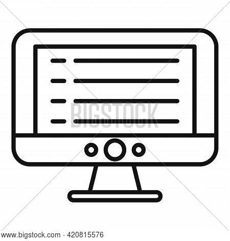Syllabus Pc Monitor Icon. Outline Syllabus Pc Monitor Vector Icon For Web Design Isolated On White B