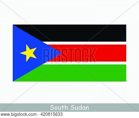 National Flag Of South Sudan. South Sudanese Country Flag. Republic Of South Sudan Detailed Banner.