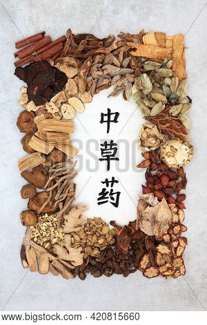 Chinese healing herb collection used in traditional herbal medicine with calligraphy script on rice paper and mottled grey background. Translation reads as chinese healing herbs. Flat lay.