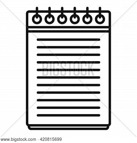 Syllabus Notepad Icon. Outline Syllabus Notepad Vector Icon For Web Design Isolated On White Backgro