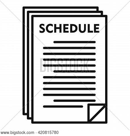 Syllabus Paper Schedule Icon. Outline Syllabus Paper Schedule Vector Icon For Web Design Isolated On