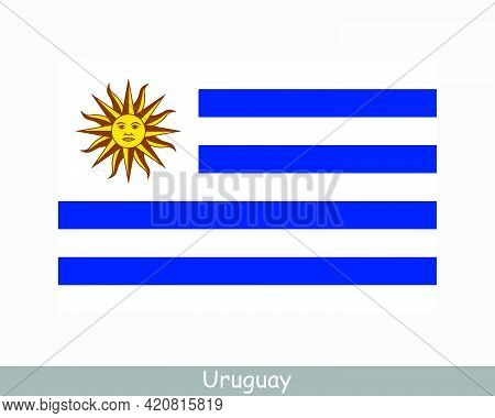 National Flag Of Uruguay. Uruguayan Country Flag. Oriental Republic Of Uruguay Detailed Banner. Eps