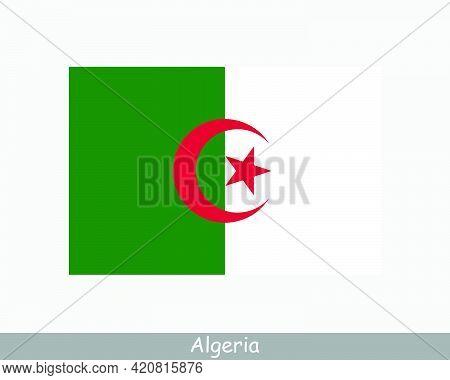 National Flag Of Algeria. Algerian Country Flag. People's Democratic Republic Of Algeria Detailed Ba