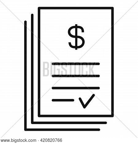 Approved Money Paper Icon. Outline Approved Money Paper Vector Icon For Web Design Isolated On White