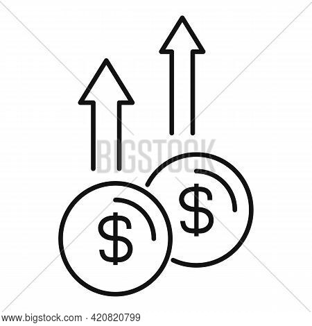 Take Money Coins Icon. Outline Take Money Coins Vector Icon For Web Design Isolated On White Backgro
