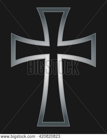 Cross Vector Shape Symbol. Christianity Sign. Christian Religion Icon. Metal Silver Color. Catholic