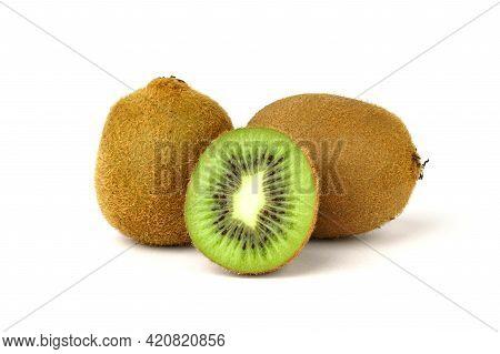Ripe Kiwi Fruit And Half Of Kiwi Isolated On White Background. Full Depth Of Field