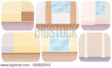 Part Of Premises, Living Room Or Corridor, Beige Hall With Brick Wall And Window Set Of Six Illustra