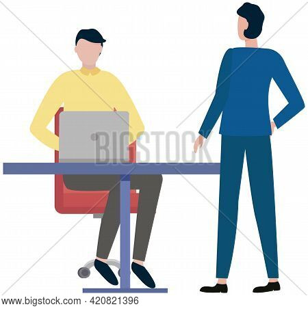 Office Workers Discussing Matters. Businessmen Dressed In Formal Clothes In Office With Laptop Talki