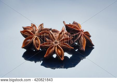 Cardamom, Star Anise, On A Gray Background. And Aroma