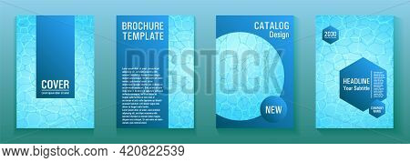 World Oceans Day Brochure Cover Templates. Ecological Booklets With Clean Sea Water Pattern.