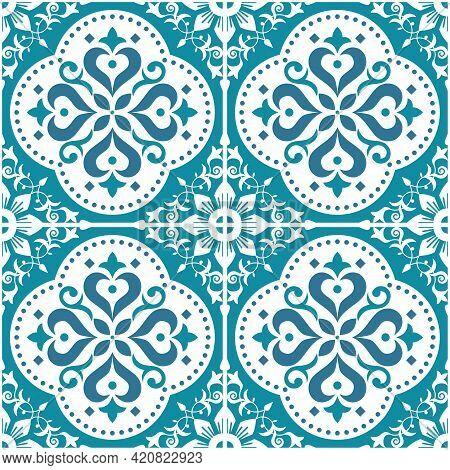 Lisbon, Portuguese Style Azulejo Tile Seamless Vector Pattern, Repetitve Textile, Fabric Print With