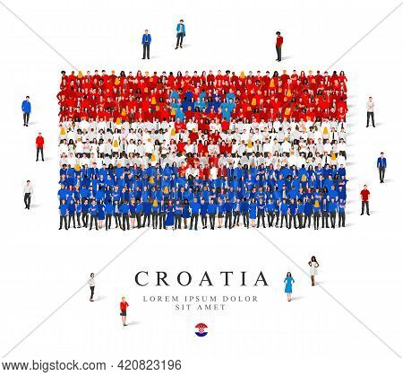 A Large Group Of People Are Standing In Blue, White And Red Robes, Symbolizing The Flag Of Croatia.