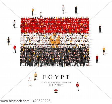 A Large Group Of People Are Standing In Black, Gold, White And Red Robes, Symbolizing The Flag Of Eg