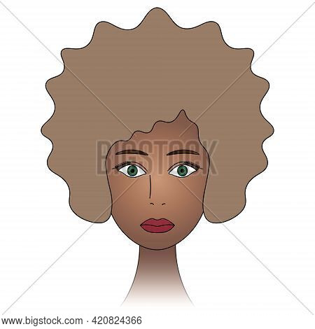 African American Woman With Green Eyes. The Girl's Face. Head Of A Woman With Bleached Hair. Colored