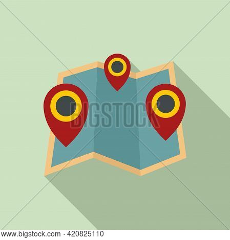 Map Sightseeing Icon. Flat Illustration Of Map Sightseeing Vector Icon For Web Design