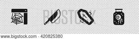 Set Spider Web, Knife, Coffin With Cross And Eye A Jar Icon. Vector