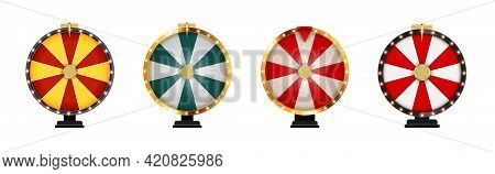 Wheel Of Fortune, Lucky Icon Template Isolated On White Collection Set. Vector Illustration