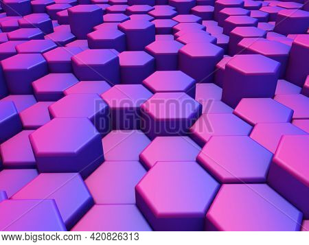 3D render of an abstract landscape with extruding hexagons