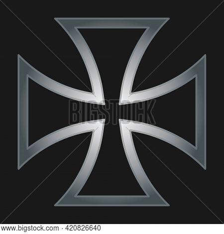 Maltese Cross Vector Shape Symbol. Christianity Sign. Christian Religion Icon. Metal Silver Color. C