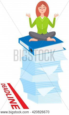 Woman Doing Yoga At Workplace In Office. Worker Sitting In Lotus Pose On Stack Of Folders, Meditatin