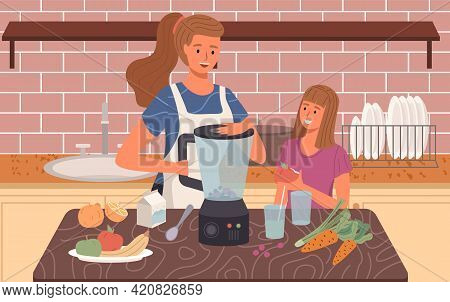 Mother And Child Are Cooking Smoothie Or Juice In Blender. Proper Healthy Nutrition And Vegetarianis
