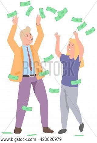Businesspeople Standing Under Money Rain And Catch Dollar Bills. Cash Bills As Symbol Of Success. Bu