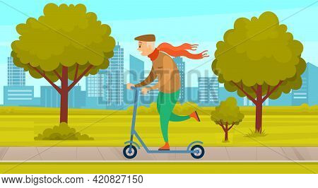 Elderly Man Riding Kick Scooter In City Park. Grandfather On A Walk, Active Pensioner Spends Time Ou