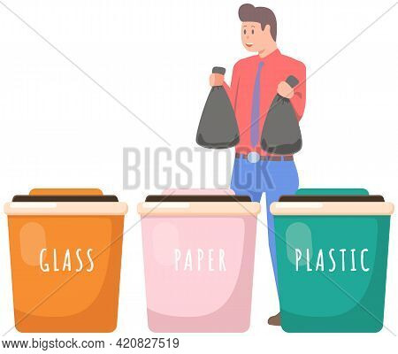 Person Sorting Garbage For Recycling. Man Putting Rubbish In Plastic, Glass, Paper Containers For Re