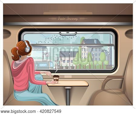 Girl In Headphones Looks At The Station Outside The Train Window. Train Journey. Girl Listens To Mus