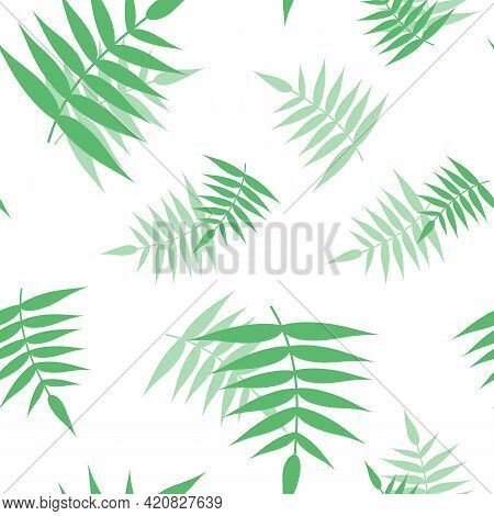 Seamless Pattern From Green Branches. Background From Tropical Jungle Leaves With Transparency And O