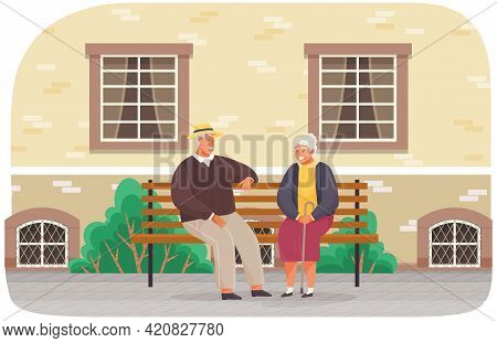 Couple Of Retirees Spend Time Outdoors Sitting On Bench. Romance Of Elderly People On Meeting. Chara