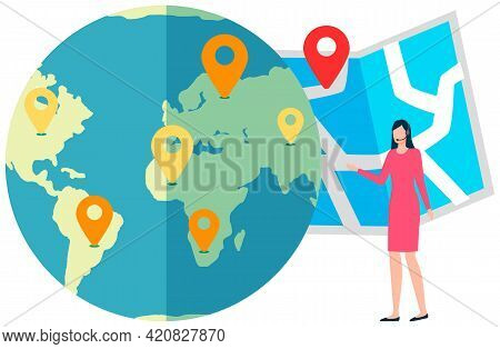 Woman Standing Beside Globe With Map Pins On It. Geographic Location, Choice Of Travel Destination,