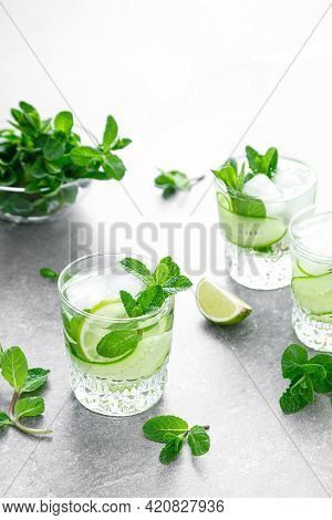 Mint, Lime And Cucumber Refreshing Infused Detox Cocktail With Ice, Light Refreshment Summer Mocktai