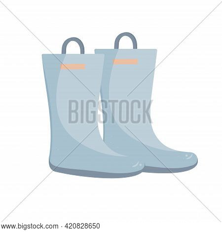 Rubber Boots. Vector Image Of A Pair Of Blue Boots On An Isolated White Background