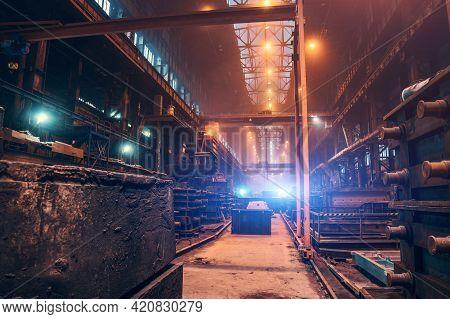 Factory Interior. Heavy Metallurgy Industry. Foundry Workshop. Steel Mill Industrial Plant. Metal Ma